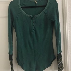 Free People Thermal Waffle Top with Knit Sleeves